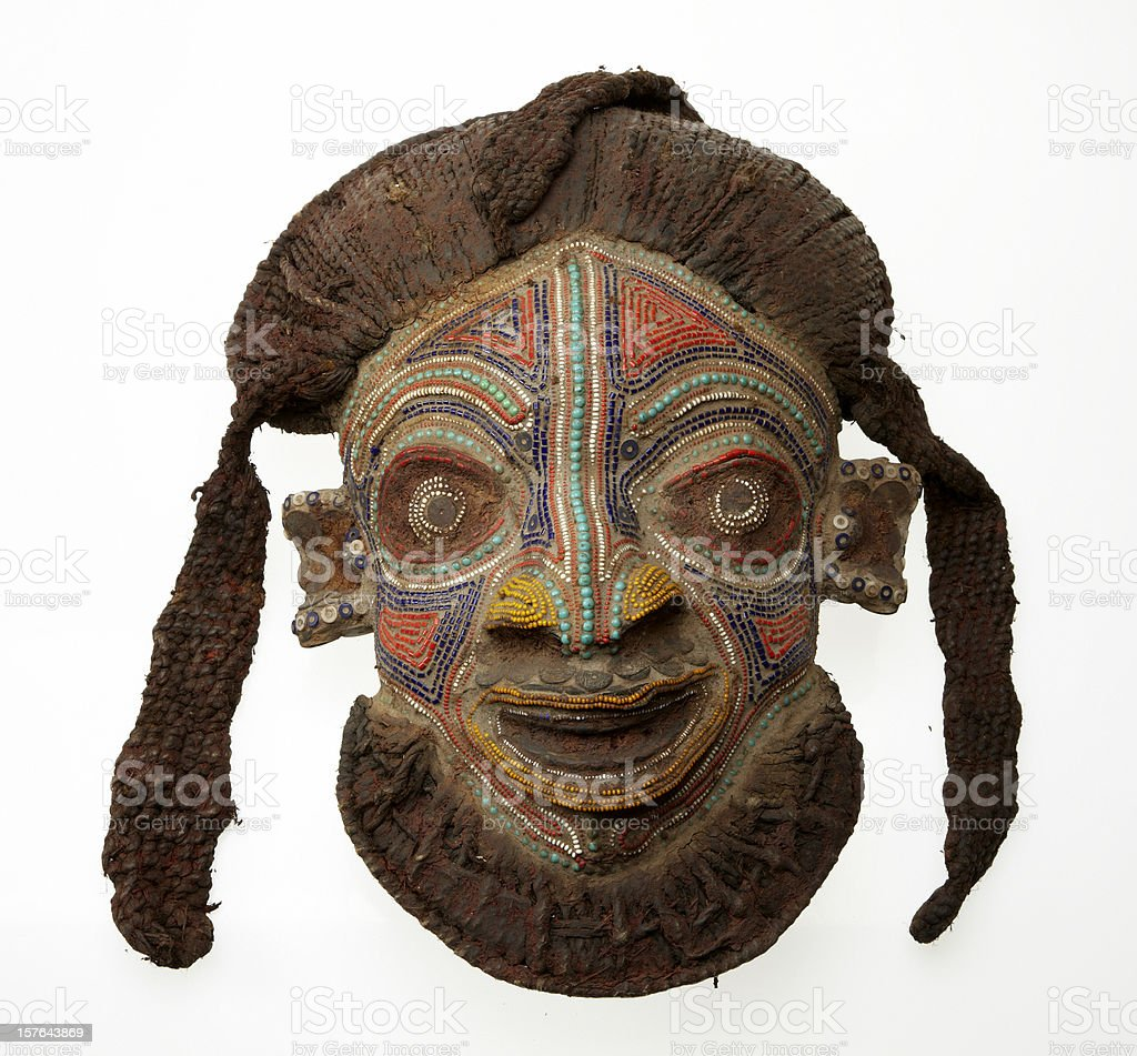 African mask isolated on white background royalty-free stock photo