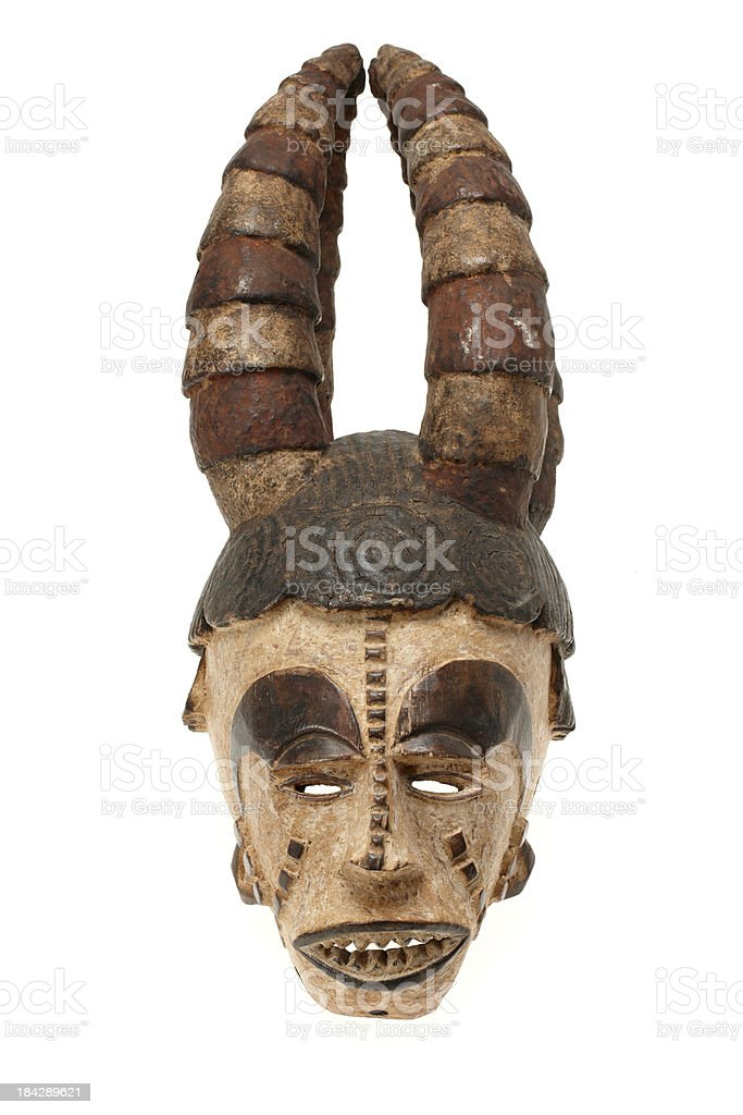 African mask isolated on white background stock photo
