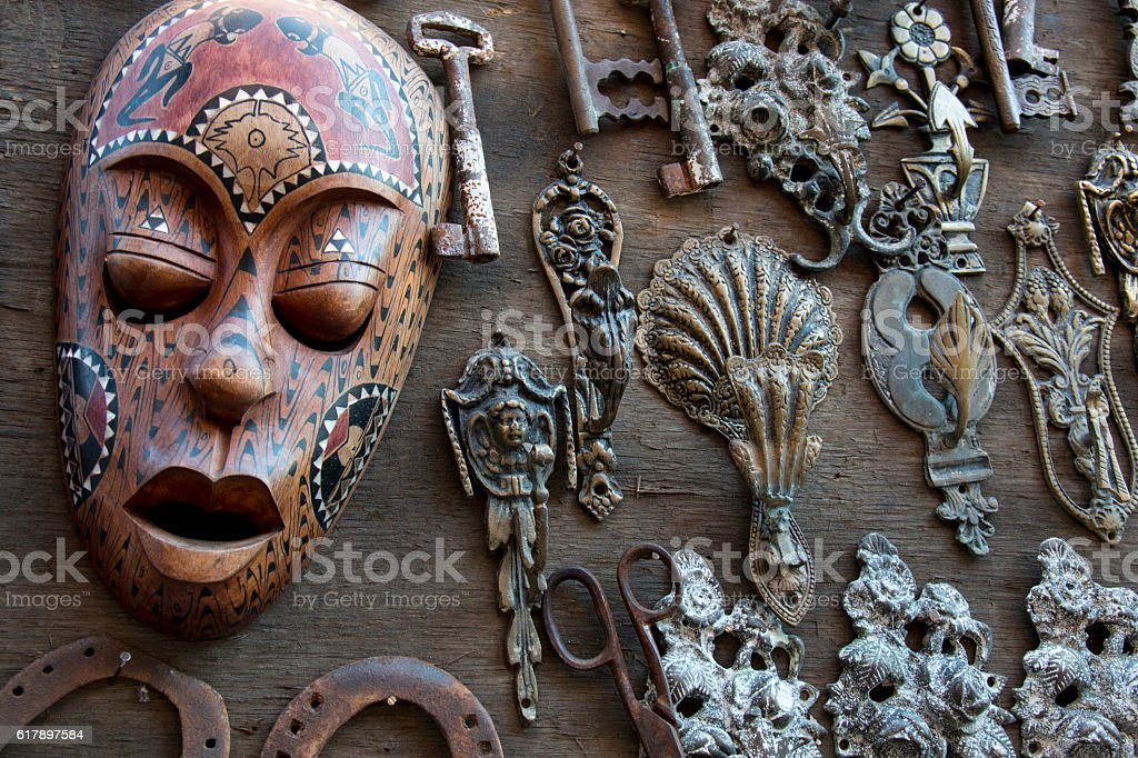 African mask, Wooden brown ritual mask stock photo