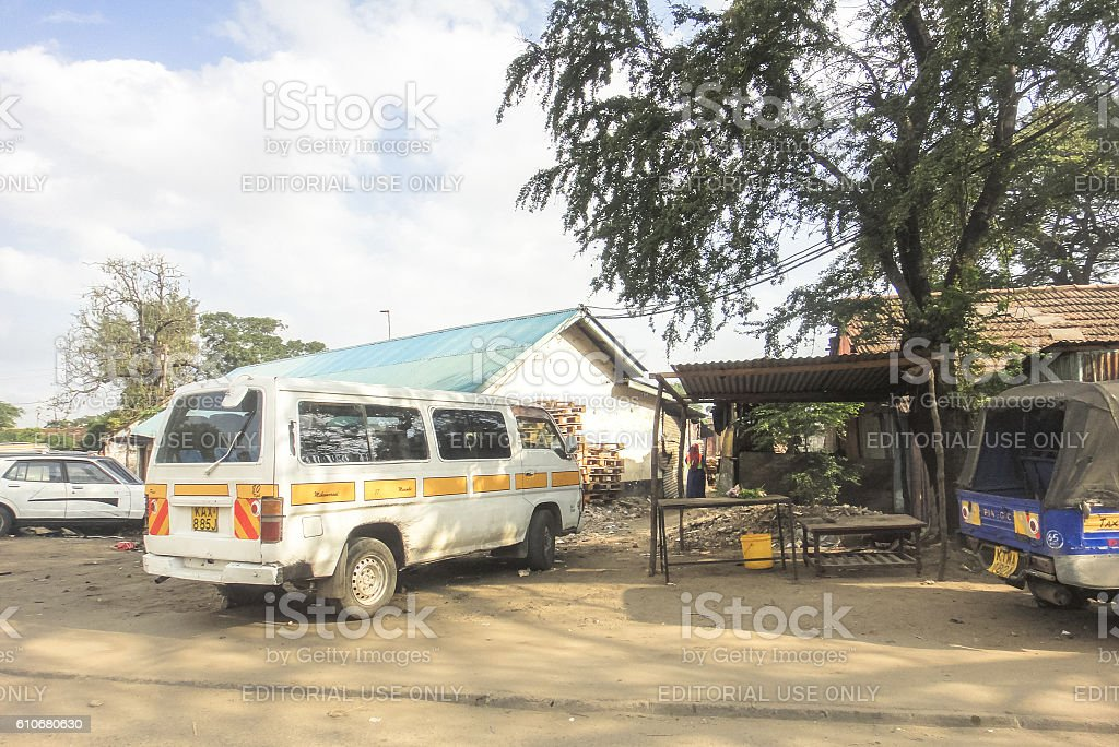 African matatu at the roadside stock photo