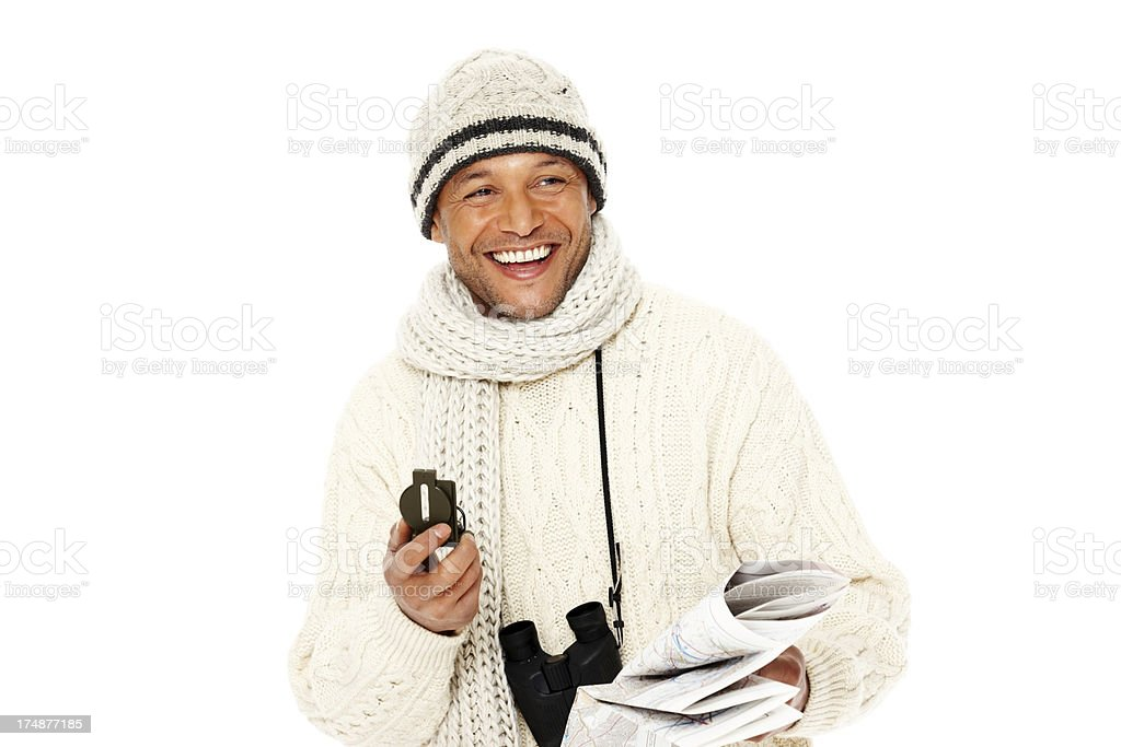 African mature guy with navigation instruments royalty-free stock photo