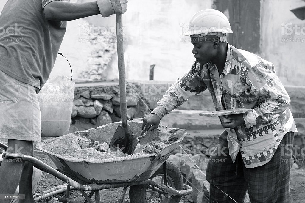 African Men Building House royalty-free stock photo