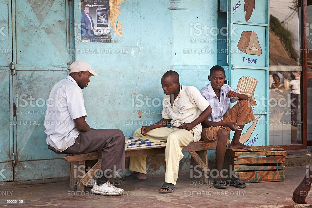 African men playing checkers royalty-free stock photo