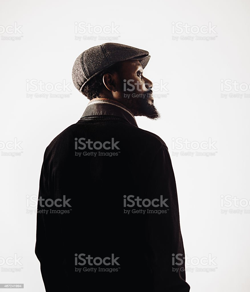 African mid age man portrait with beard. stock photo