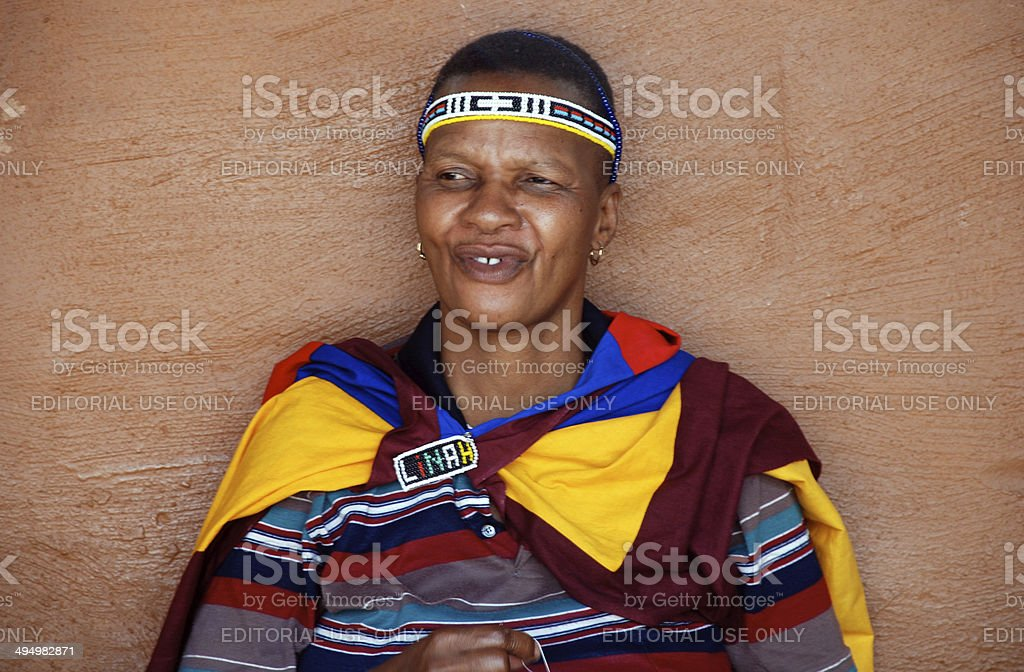 African ndebele woman, South Africa. stock photo