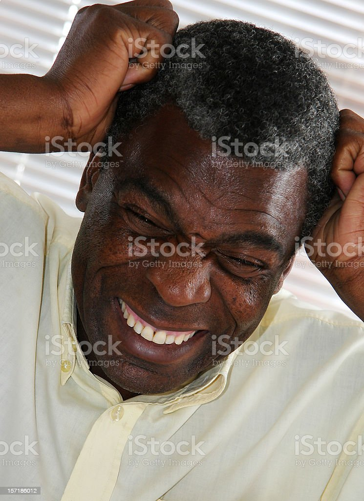 African Office Frustration stock photo