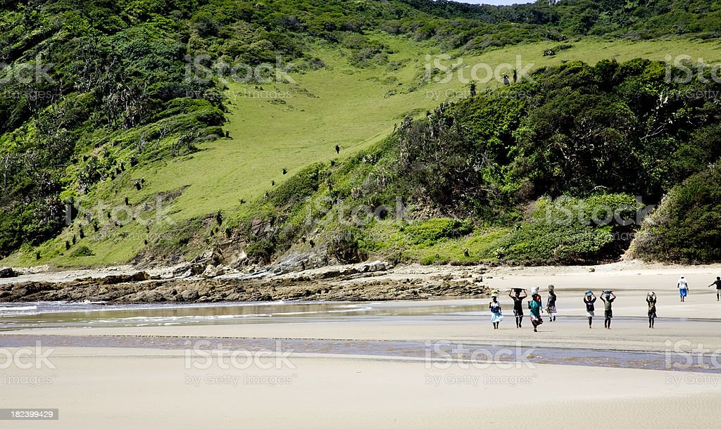 African oyster gatherers returning home along the beach. stock photo