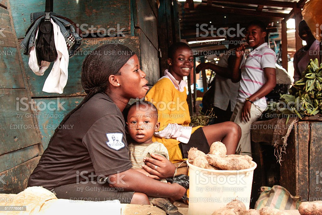 African people on the vegetables market, Kumasi, Ghana stock photo
