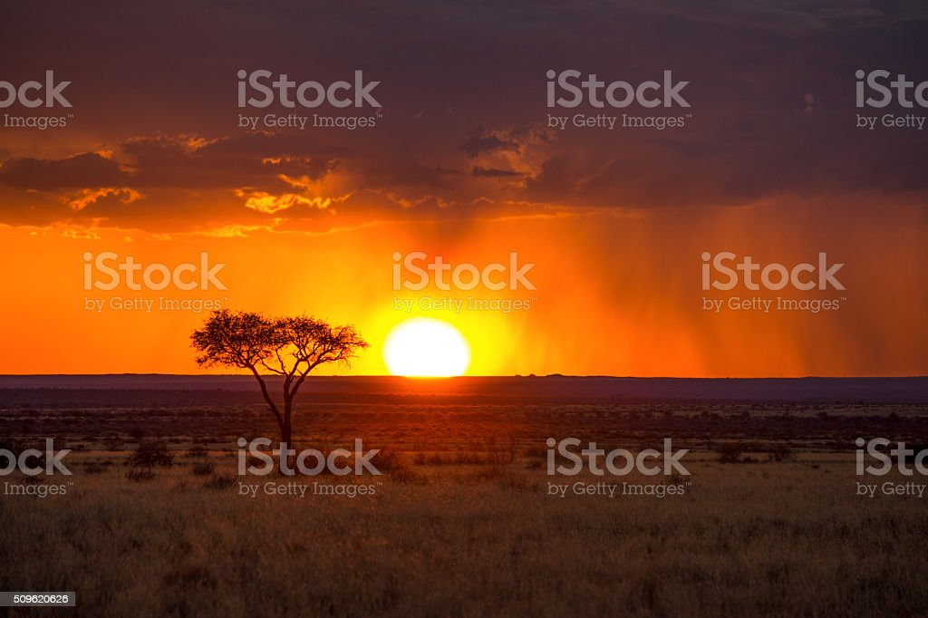 African Red Sunset stock photo