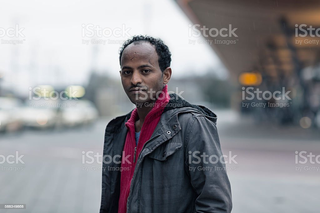 african refugee in Europe stock photo