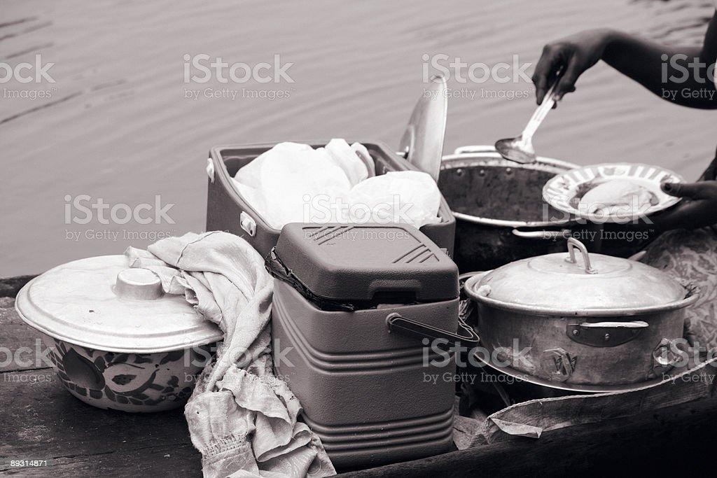 african restaurant on the boat stock photo