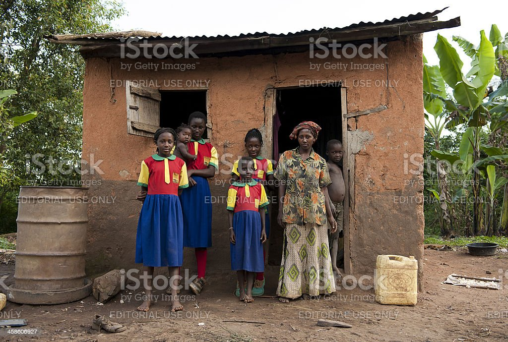 African school children and their family stock photo