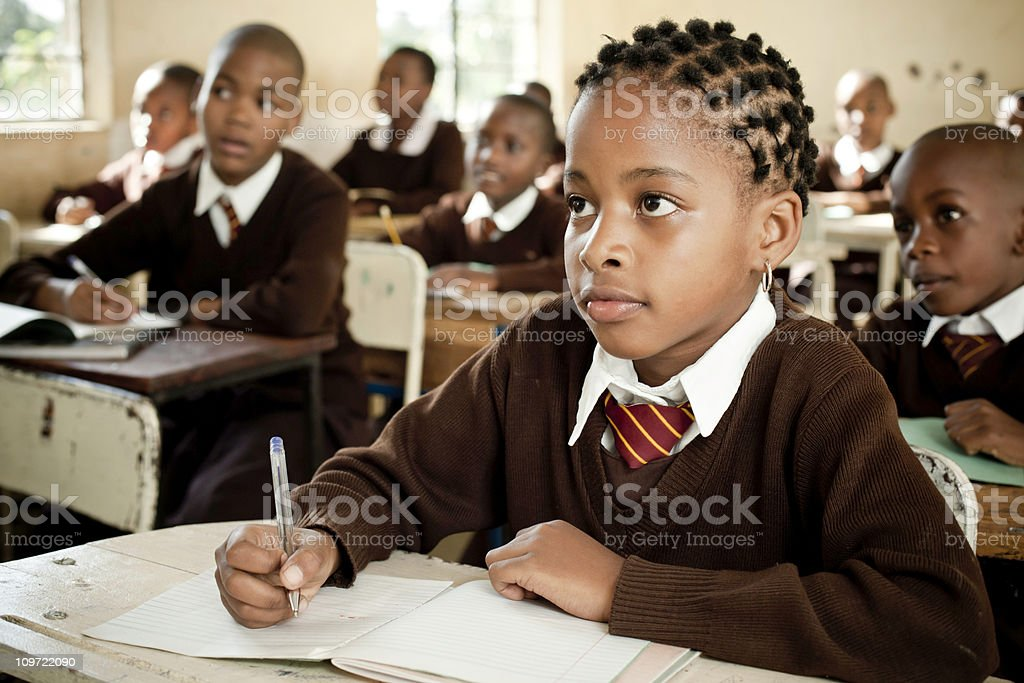 African School Children in the Classroom stock photo