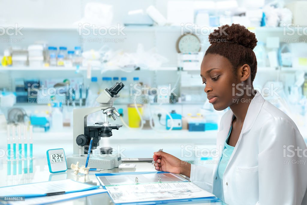 African scientist, medical worker, tech or graduate student stock photo