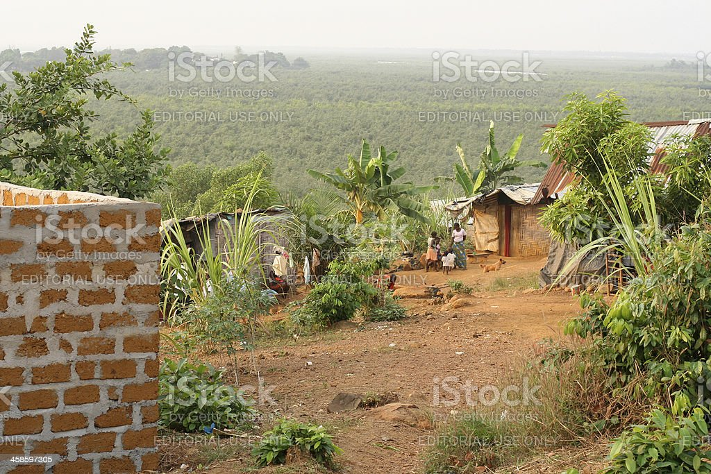 African Shacks Overlooking Rainforest royalty-free stock photo