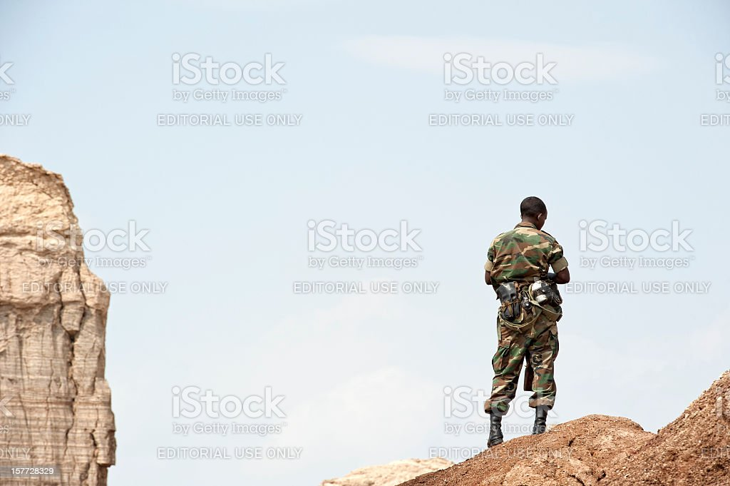 African soldier in the Danakil Desert, Ethiopia stock photo