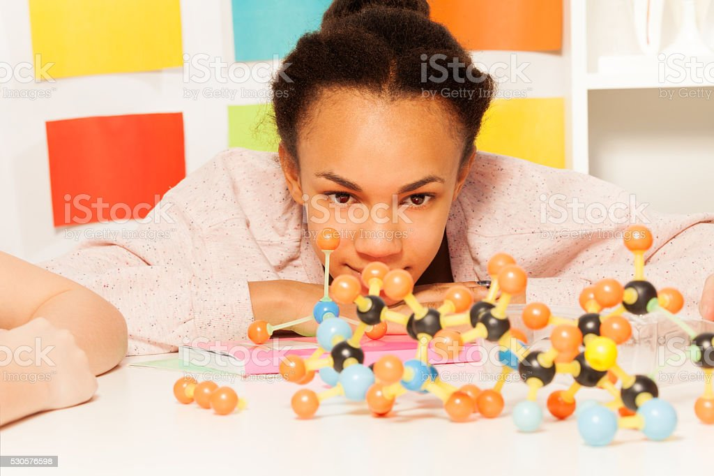 African student at the chemistry lesson stock photo