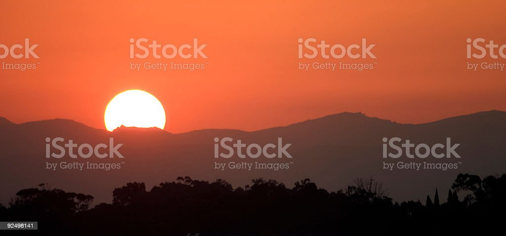 African sunset over the North African mountains of Tunisia stock photo