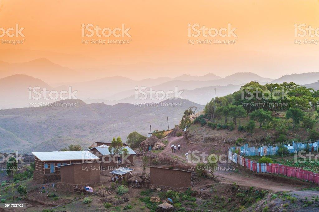 African Sunset Scene stock photo