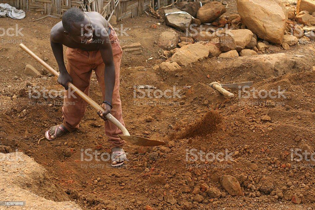 African Teen Digging stock photo