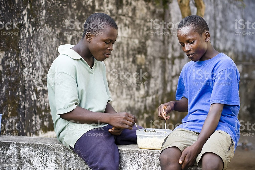 African Teens Eating stock photo