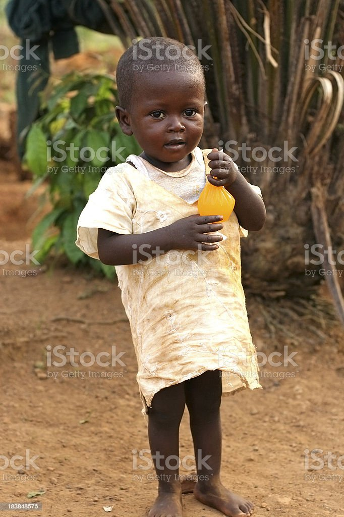 African Toddler with Juice stock photo