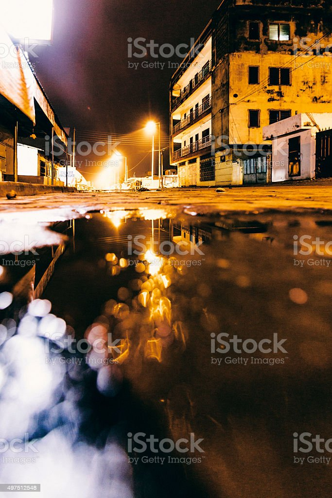 African town by night. Abomey, Benin. stock photo