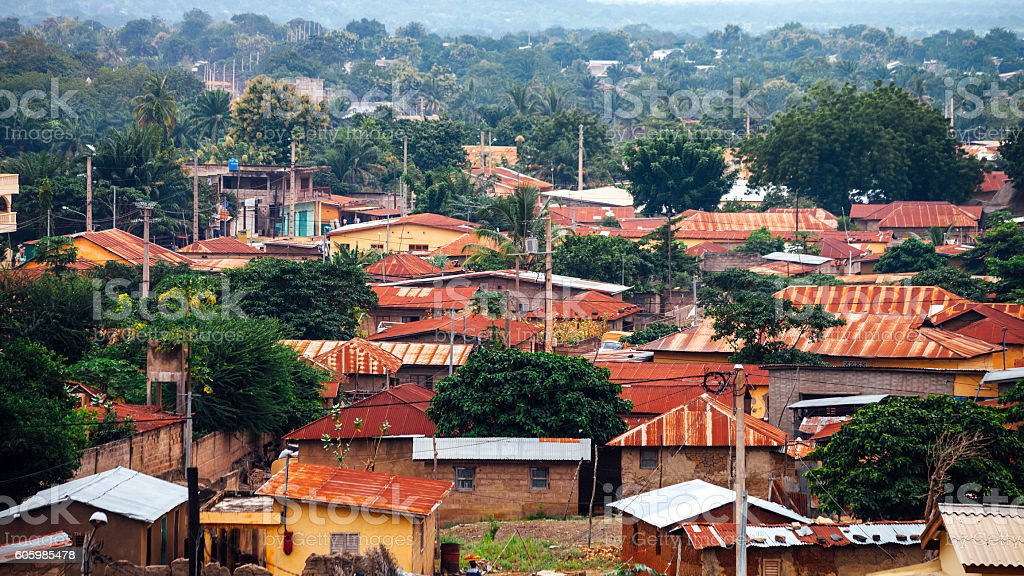 African town. Dassa-Zoume, Benin. stock photo