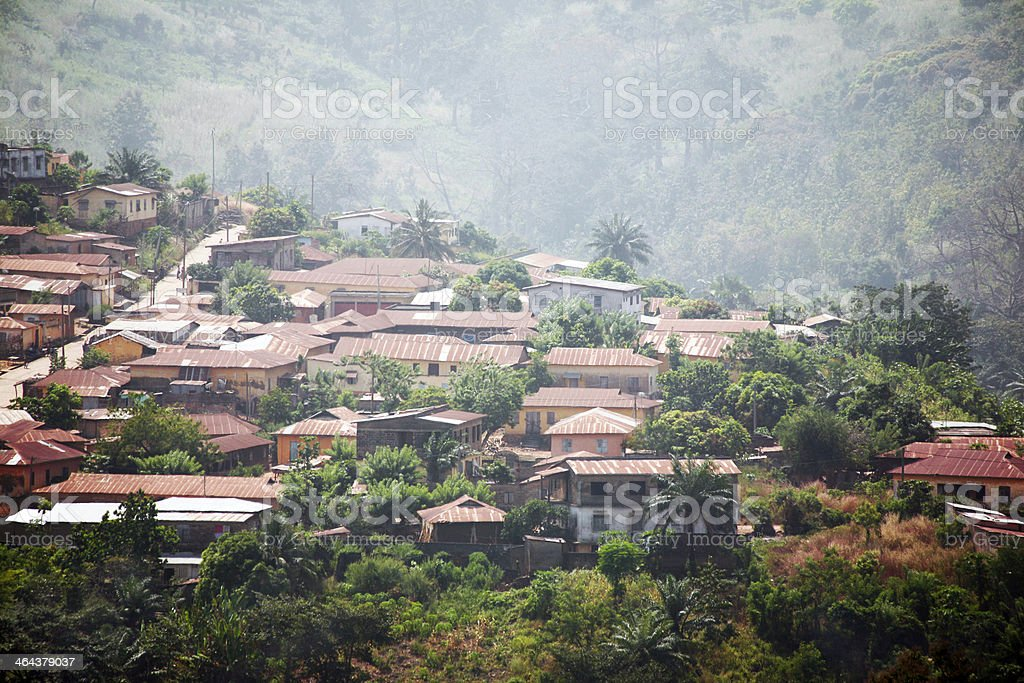 african town on the hills stock photo