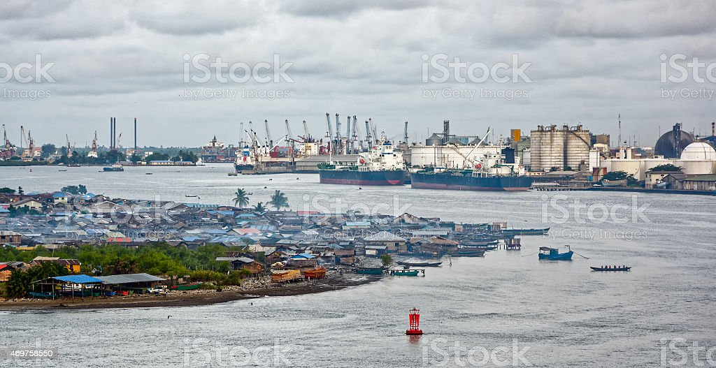 African town on the riverside stock photo