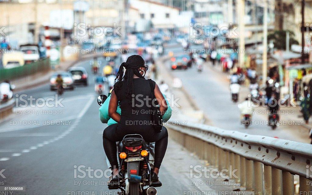 African town traffic. Cotonou, Benin. stock photo