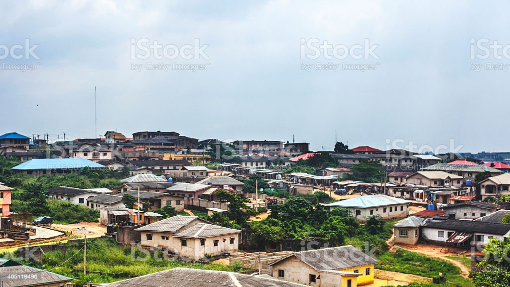 African town view. Ikorodu, Lagos, Nigeria. stock photo