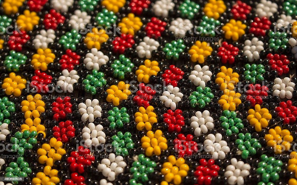 African traditional handmade colorful beads bracelets, necklaces ornament. stock photo