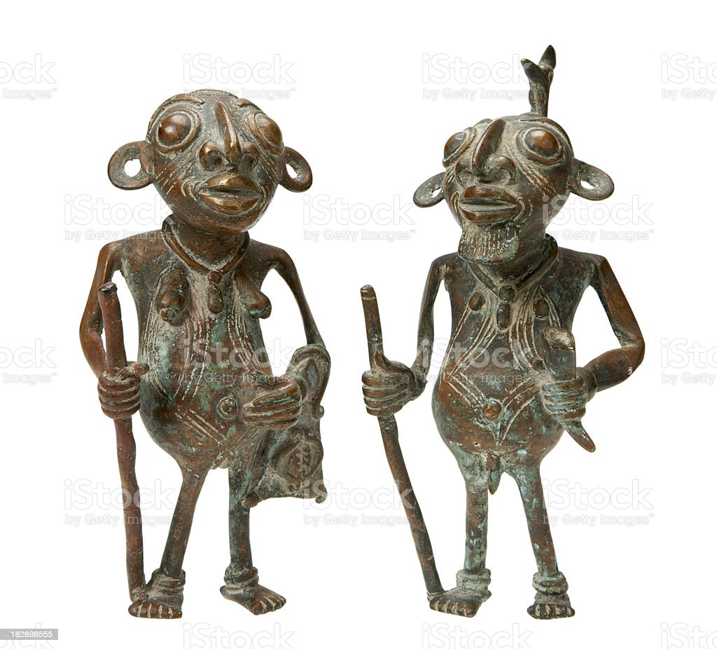 African tribal art figurine couple from ghana stock photo