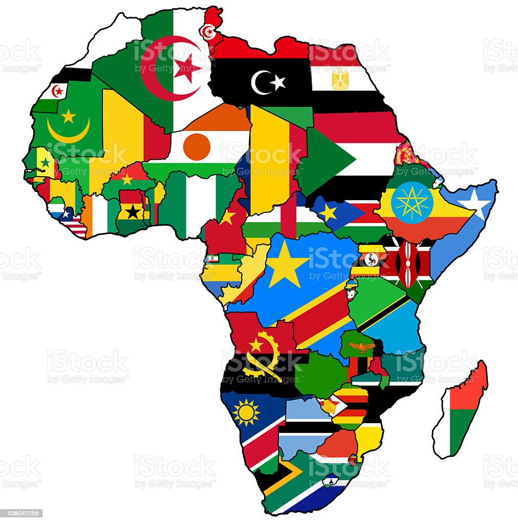 african union on actual map of africa stock photo