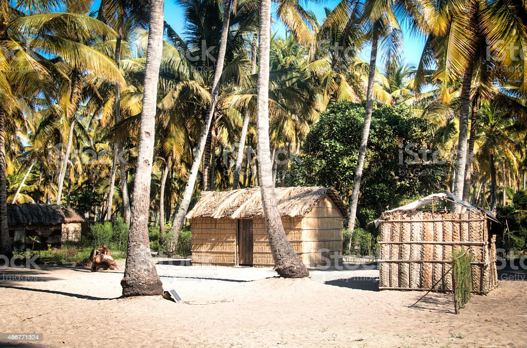 African village between palm trees in Tofo stock photo