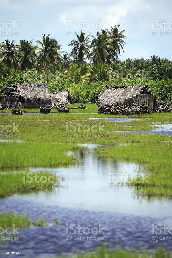 African Village in Wetlands royalty-free stock photo