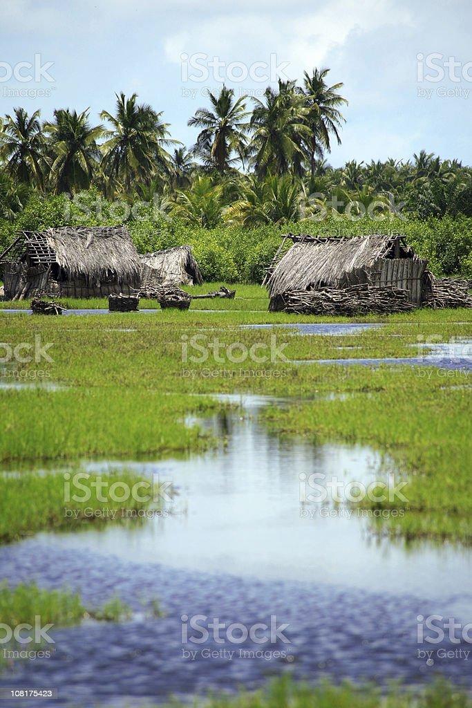 African Village in Wetlands stock photo