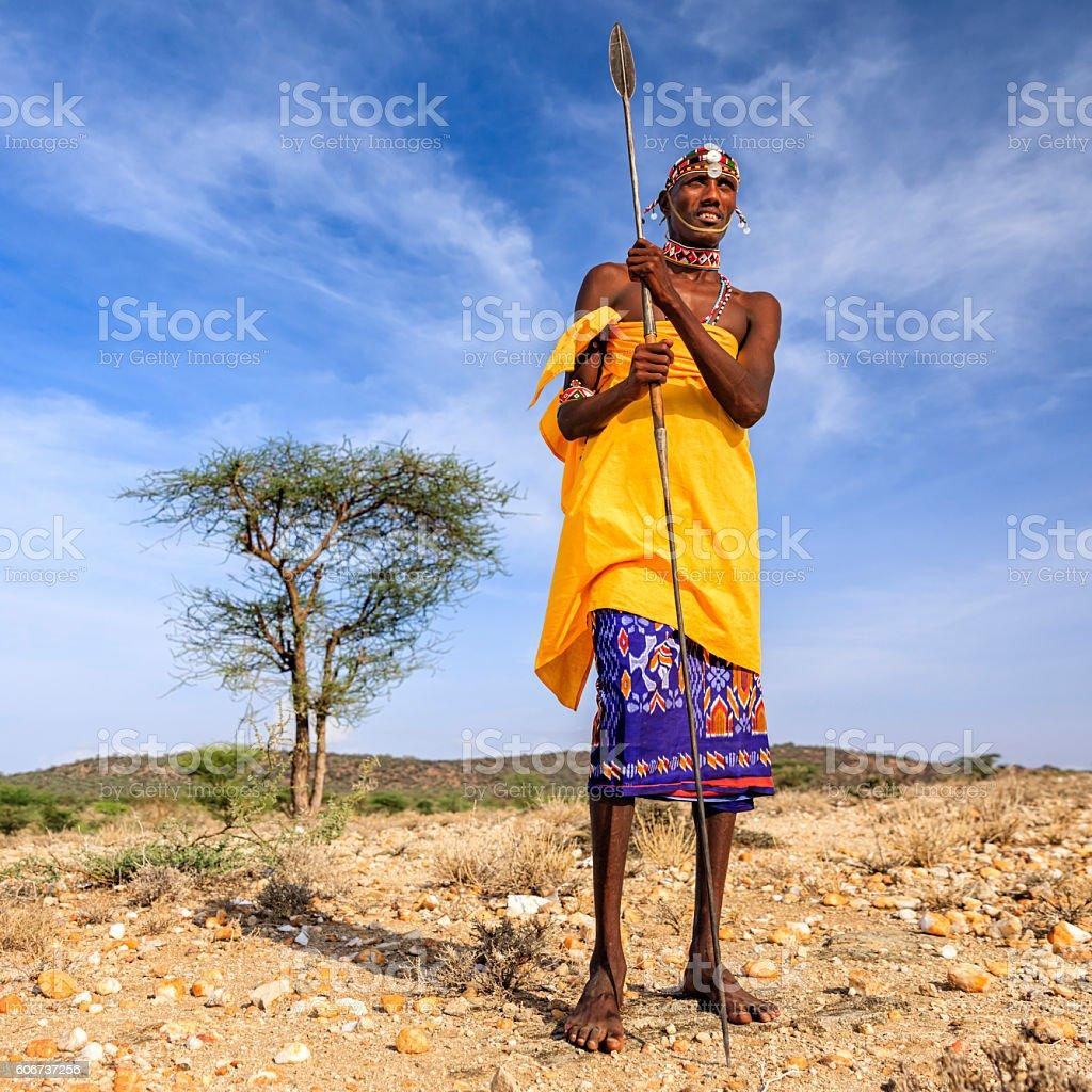 African warrior from Samburu tribe, central Kenya, East Africa stock photo
