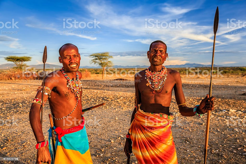 African warriors from Samburu tribe, central Kenya, East Africa stock photo