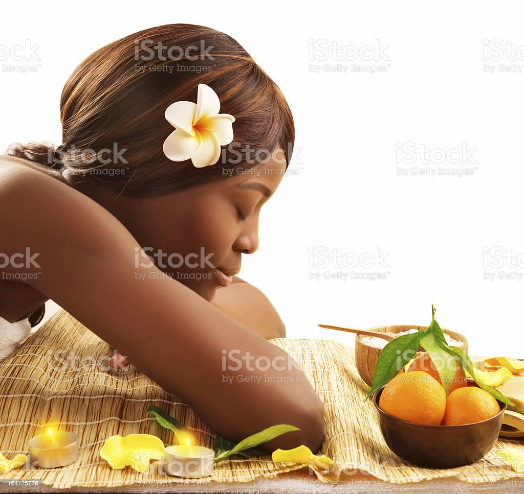 African woman at spa royalty-free stock photo