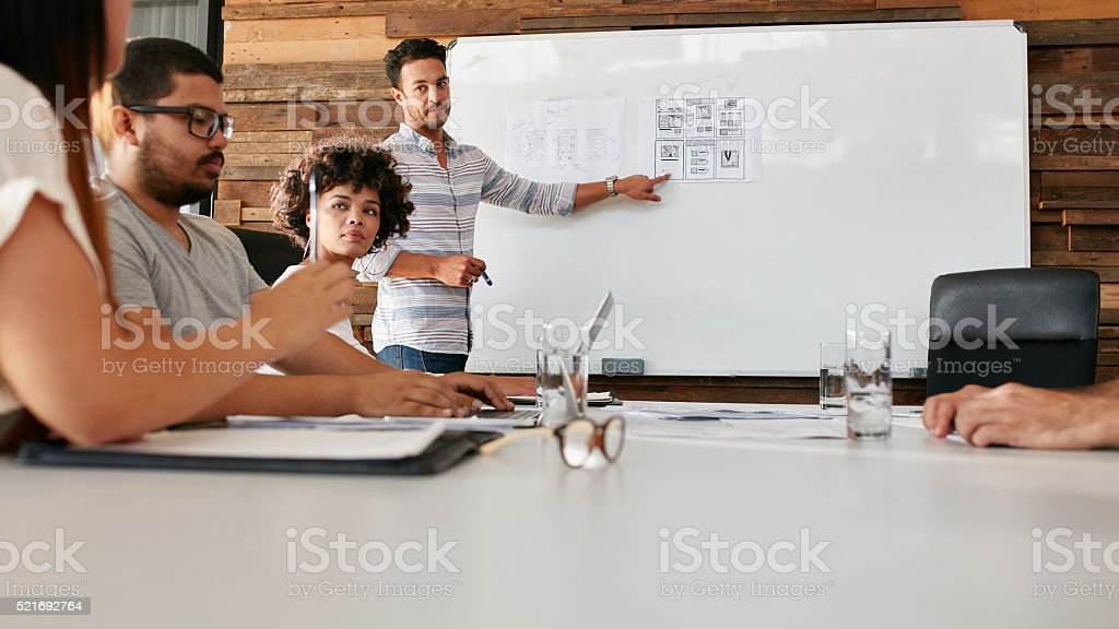 African woman in a business presentation stock photo