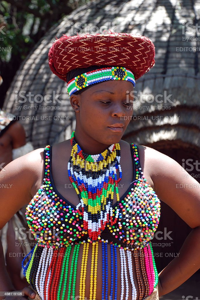 African woman in traditional accessories(South Africa) royalty-free stock photo