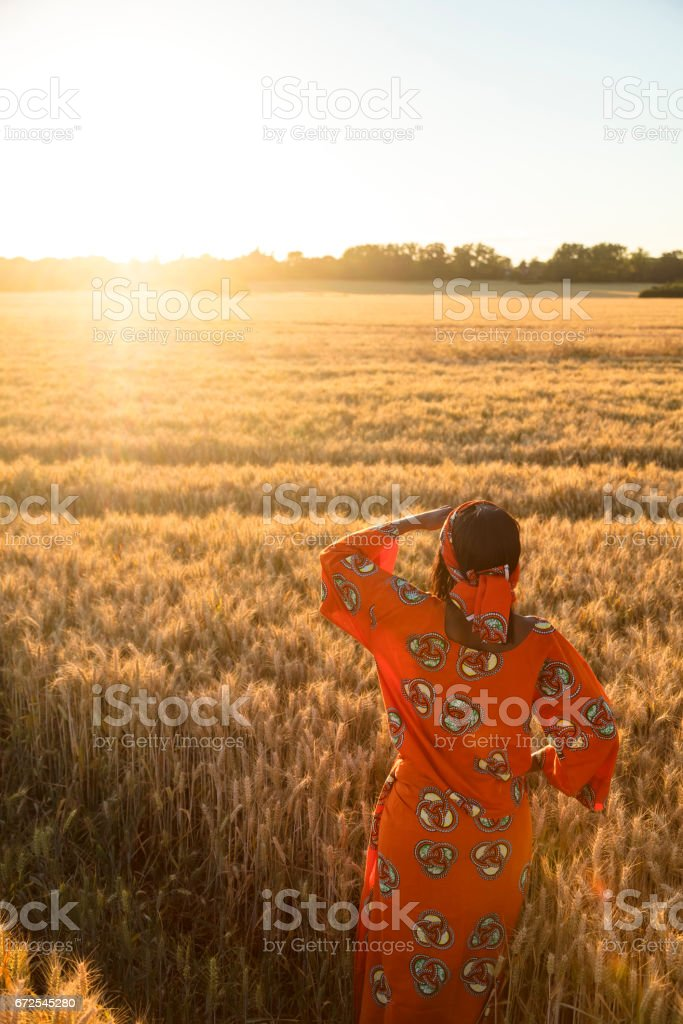 African woman in traditional clothes standing looking across a field of barley or wheat crops at sunset or sunrise stock photo