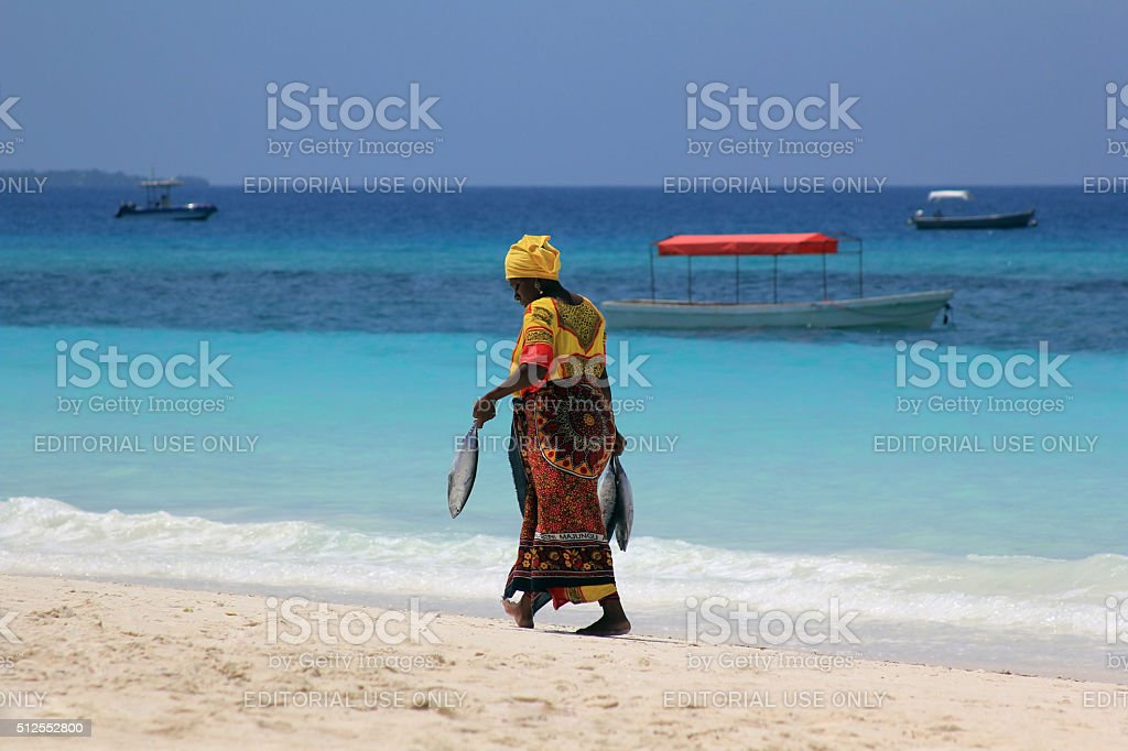 African woman in traditional dress stock photo