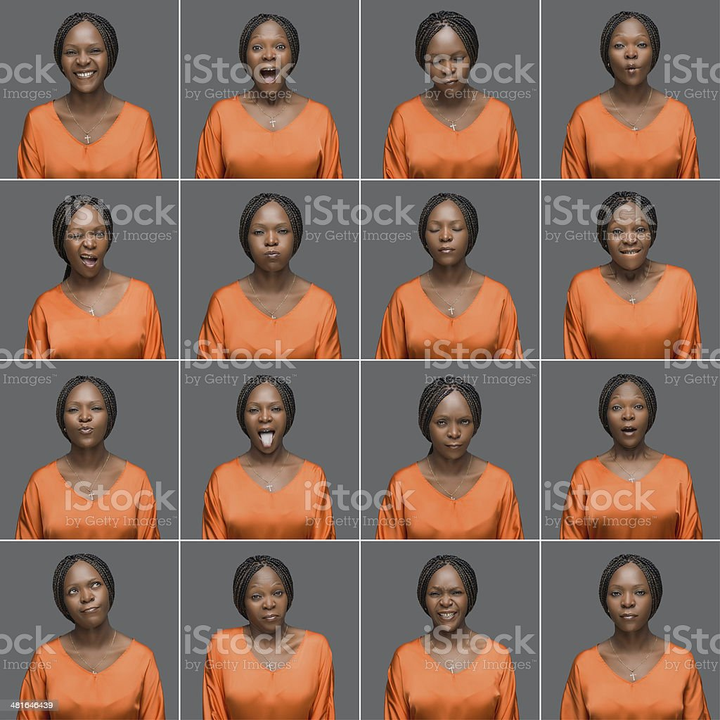African woman making sixteen different facial expression royalty-free stock photo