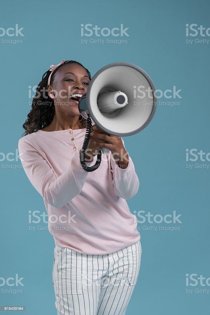 African woman megaphone stock photo