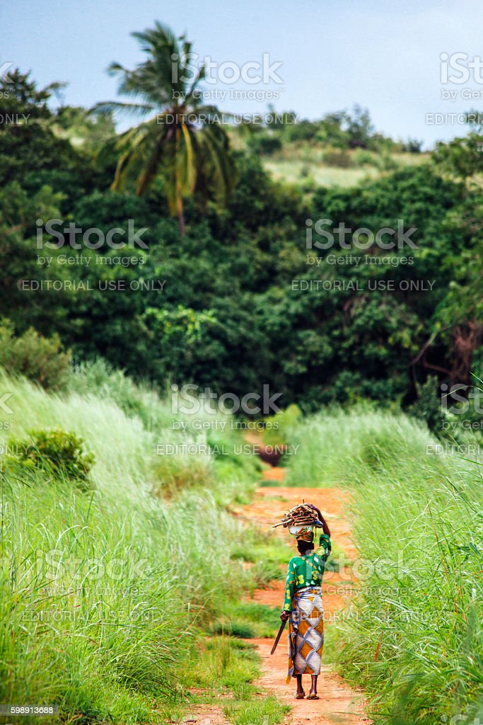 African woman on the road. Benin. stock photo