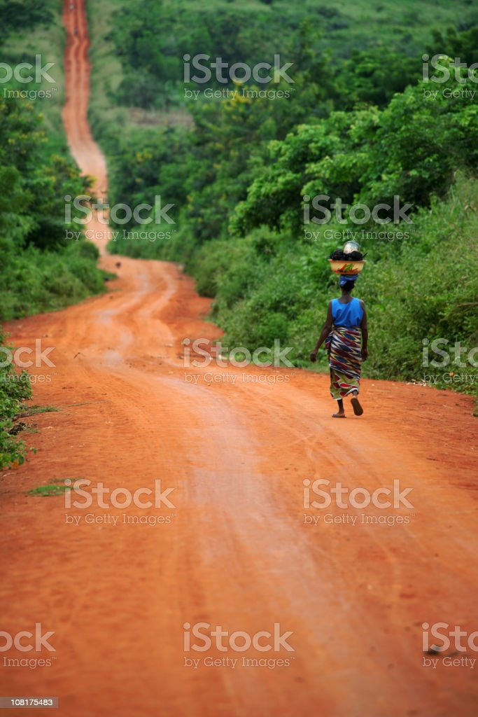 african woman on the road royalty-free stock photo
