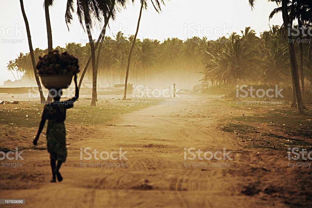 african woman on the road stock photo